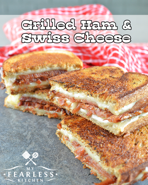 Grilled Ham & Swiss Cheese Sandwiches from My Fearless Kitchen. Grilled cheese sandwiches are delicious! This Grilled Ham and Swiss Cheese is perfect for everyone on cold nights, fast lunches, or dinner on a busy night.