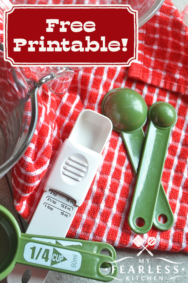 How Do I Convert Kitchen Measurements? from My Fearless Kitchen. Have you ever needed to do measurement math in the middle of cooking? This free printable chart will make kitchen measurement conversions a piece of cake! #printable #baking #kitchentips #kitchenhacks #kitchenprintable