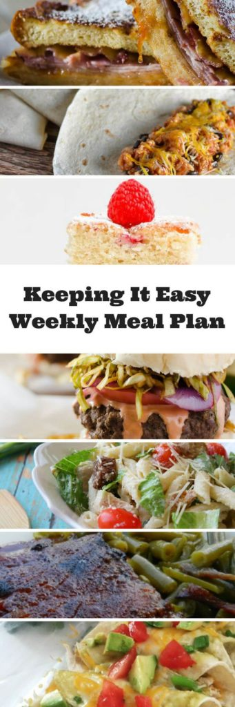 Easy Weekly Meal Plan #16 from My Fearless Kitchen. This week's meal plan includes French Toast Monte Cristo Sandwiches, Dominican Chimichurri Burgers, Chicken & Black Bean Burritos, Chicken Caesar Pasta Salad, Easy Chili Verde Enchiladas, Sweet & Spicy BBQ Ribs, and Raspberry Pound Cake Brownies.