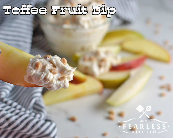 Toffee Fruit Dip from My Fearless Kitchen. Do you have trouble getting your kids to eat their fruit? Try this Toffee Fruit Dip with a handful of sliced apples or pears and everyone will ask for more!