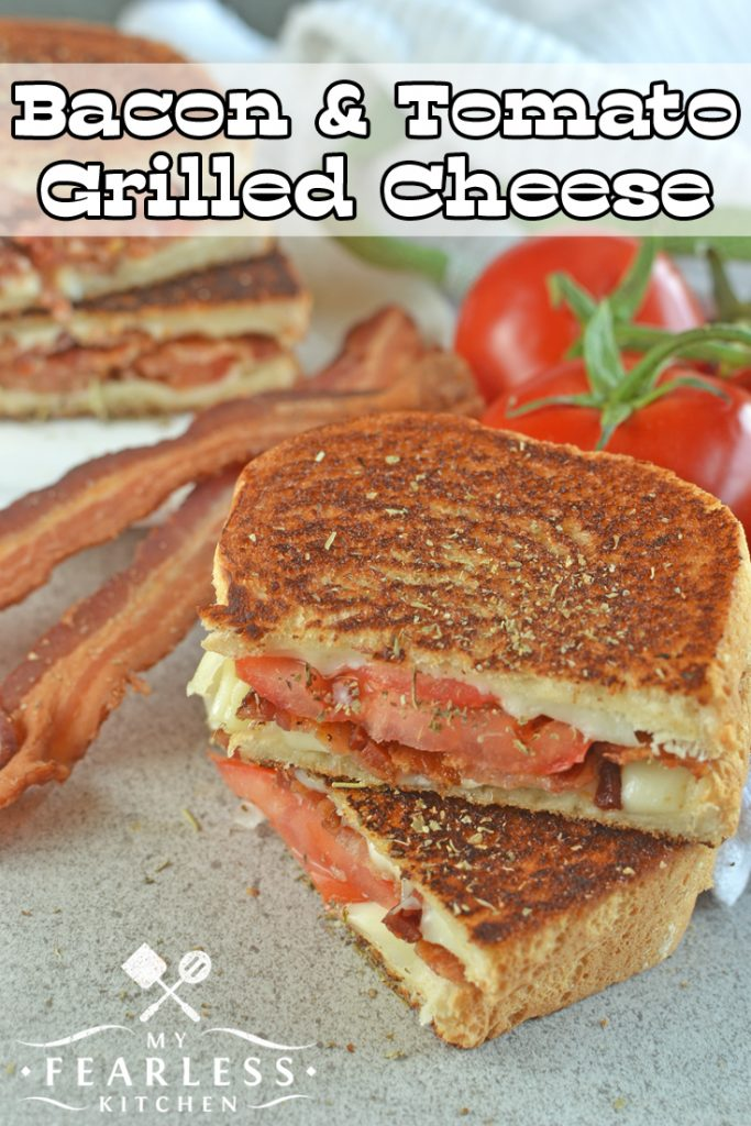 Bacon & Tomato Grilled Cheese from My Fearless Kitchen. Do you need a fast lunch that your kids will eat and adults will enjoy? This Bacon & Tomato Grilled Cheese Sandwich with fresh tomatoes will please everyone! Plus, you can sneak in a vegetable! #bacon #grilledcheese #sandwich