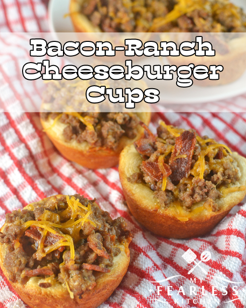 Bacon-Ranch Cheeseburger Cups from My Fearless Kitchen. Are you looking for a fun new burger recipe? Try these Bacon-Ranch Cheeseburger Cups! They're easy to make, kid-friendly, and grownups love them, too!