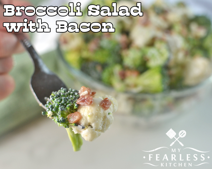 broccoli, cauliflower, and bacon on a fork