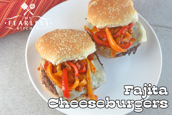 overhead view of two fajita cheeseburgers with red and orange pepper strips - Les Kitchen
