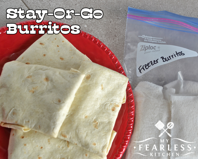 Stay-Or-Go Burritos from My Fearless Kitchen. Everybody needs a go-to recipe for busy nights. Enjoy these Stay-or-Go Burritos for a family dinner and keep some in the freezer to grab on the way out the door for a night on the run.