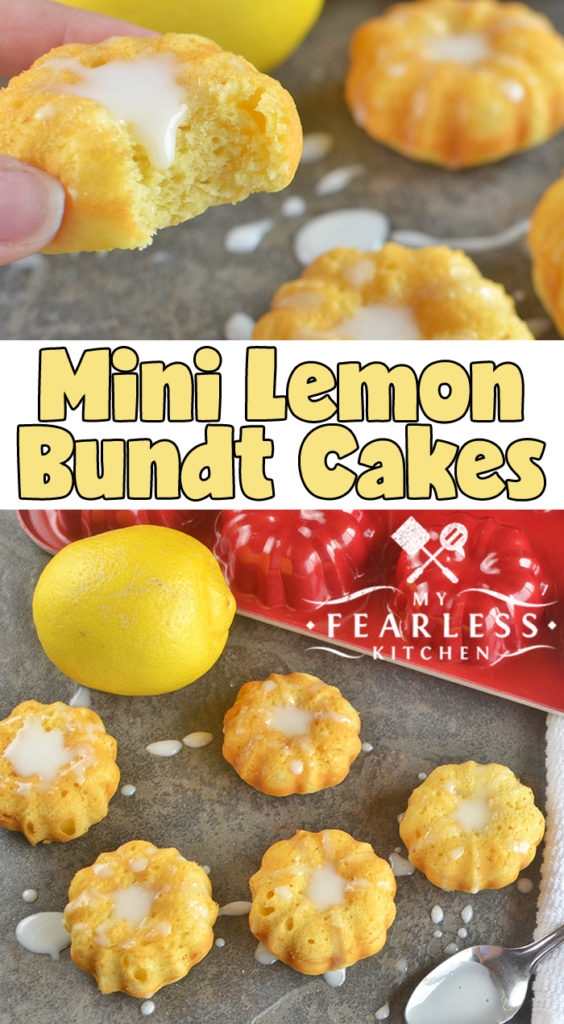 Mini Lemon Bundt Cakes from My Fearless Kitchen. Do you need an easy dessert recipe? These easy Mini Lemon Bundt Cakes start with a box of cake mix, and use milk and Greek yogurt as the main ingredients. #dessert #lemon #cake #easyrecipes
