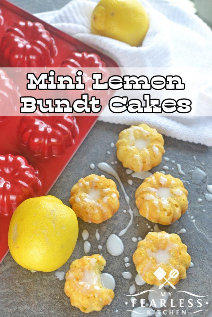 Mini Lemon Bundt Cakes from My Fearless Kitchen. Do you need an easy dessert recipe? These easy Mini Lemon Bundt Cakes start with a box of cake mix, and use milk and Greek yogurt as the main ingredients. #dessert #lemon #cake