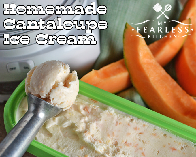 Homemade Cantaloupe Ice Cream from My Fearless Kitchen. Cantaloupe and ice cream isn't a combination you usually think of. But it is delicious & refreshing! This Homemade Cantaloupe Ice Cream is so easy to make.