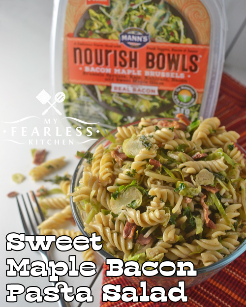 a large bowl of sweet maple bacon pasta salad made with Mann's Nourish Bowls veggies