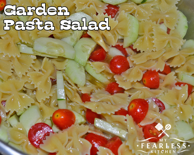 pasta salad with cucumbers and tomatoes
