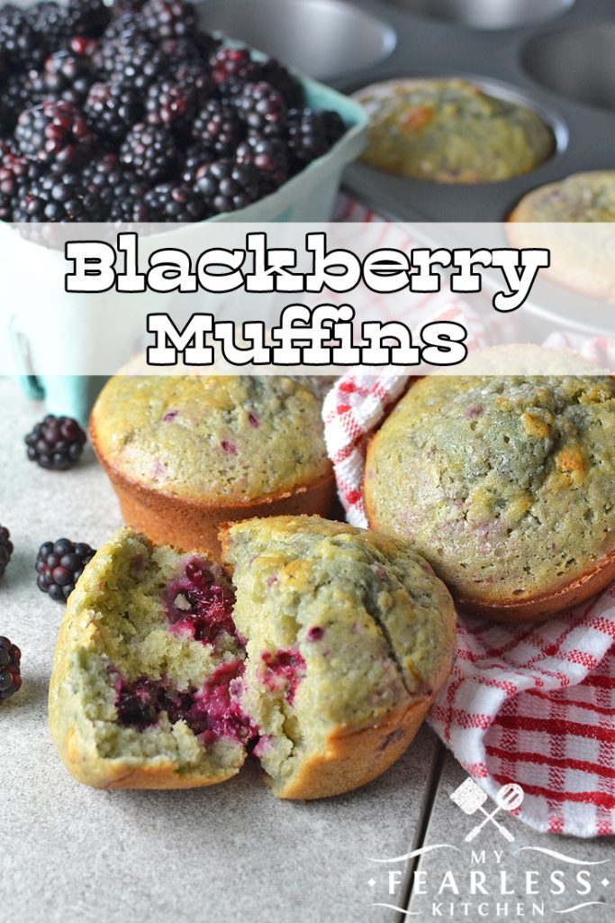 Blackberry Muffins from My Fearless Kitchen. Fresh fruit just screams summer. And the fresh blackberries in these easy Blackberry Muffins will have you dreaming of summer anytime you make them!