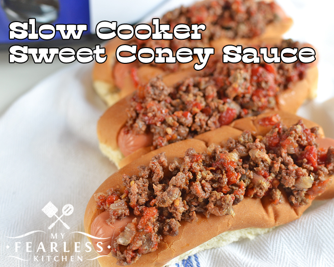 Slow Cooker Sweet Coney Sauce from My Fearless Kitchen. What's on the menu for your next tailgate party? Make this simple Slow Cooker Sweet Coney Sauce and dress up those boring hot dogs! Now go enjoy the game!