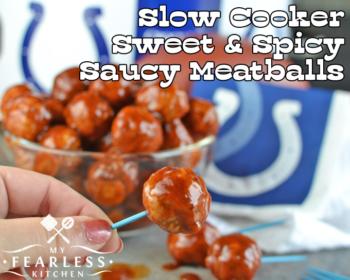 Slow Cooker Sweet & Spicy Saucy Meatballs from My Fearless Kitchen. Are you looking for a fast and easy recipe for your next tailgate party? These Slow Cooker Sweet & Spicy Saucy Meatballs are sure to be a hit with everyone!