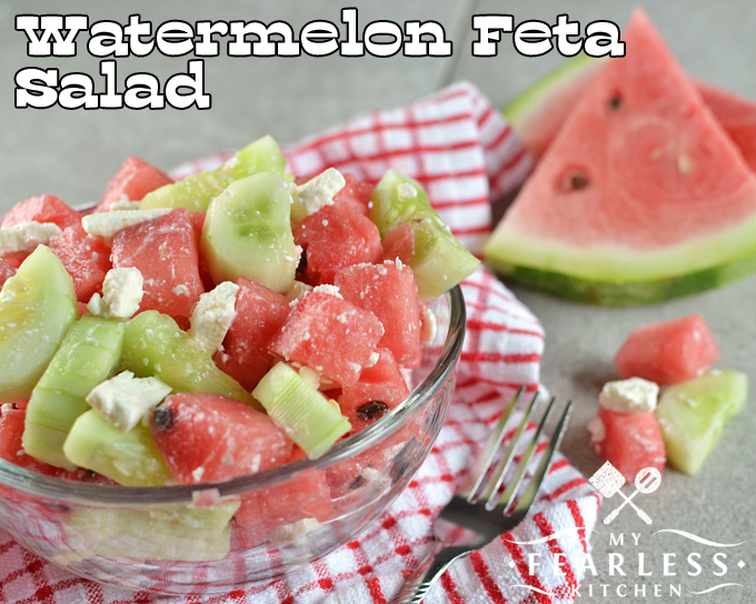 Watermelon Feta Salad from My Fearless Kitchen. Add some refreshing fun to any meal with this simple Watermelon Feta Salad. It's the perfect addition to all your busy summer parties.