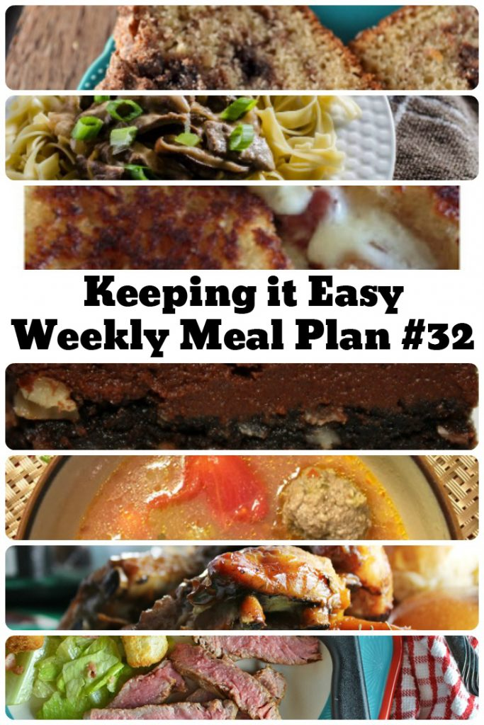 Easy Weekly Meal Plan #32 from My Fearless Kitchen. This week's meal plan includes Easy Cinnamon Bread, 30-Minute Beef Stroganoff, Meatball Soup, Bacon Pepper Jack Grilled Cheese, Simple Marinated Ribeye Steak, Slow Cooker Pepsi Ribs, and Kitchen Sink Bars.