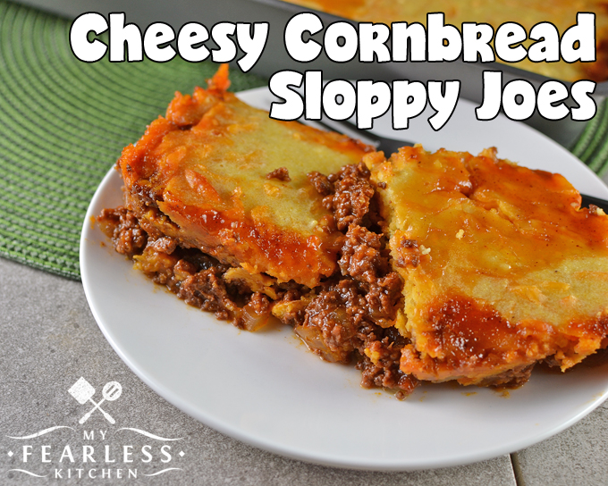 Cheesy Cornbread Sloppy Joes from My Fearless Kitchen. Are you looking for an easy meal that the whole family will enjoy? These Cheesy Cornbread Sloppy Joes are so delicious, everyone will want the last bite!