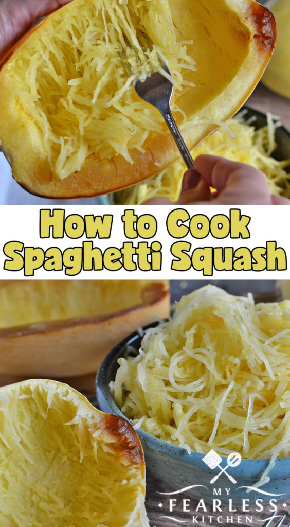 How to Cook Spaghetti Squash from My Fearless Kitchen. Have you ever tried spaghetti squash? How do you turn that squash into those cute noodles? It's easier than you think! Get the tips and tricks you need here. #kitchentips #kitchenhacks #cookingtips