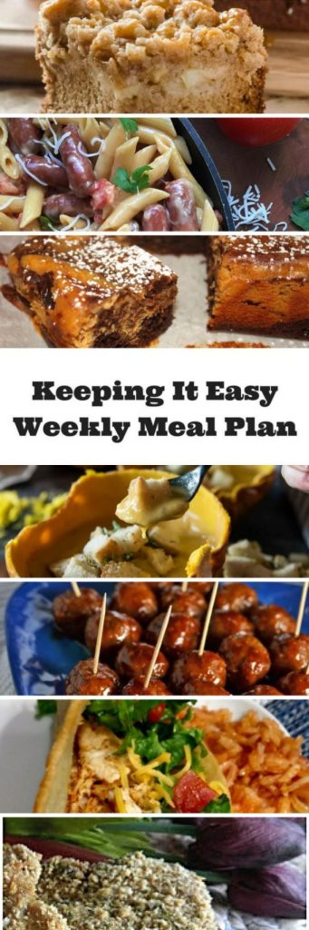 Easy Weekly Meal Plan #40 from My Fearless Kitchen. This week's meal plan includes Apple Butterscotch Crumb Cake, Pumpkin Beer Cheese Soup, Slow Cooker Honey-BBQ Meatballs, One Pot Cheesy Smoked Sausage Pasta,Quick Weeknight Chicken Tacos, Parmesan Crusted Pork Chops, and Pumpkin Chocolate Brownies.