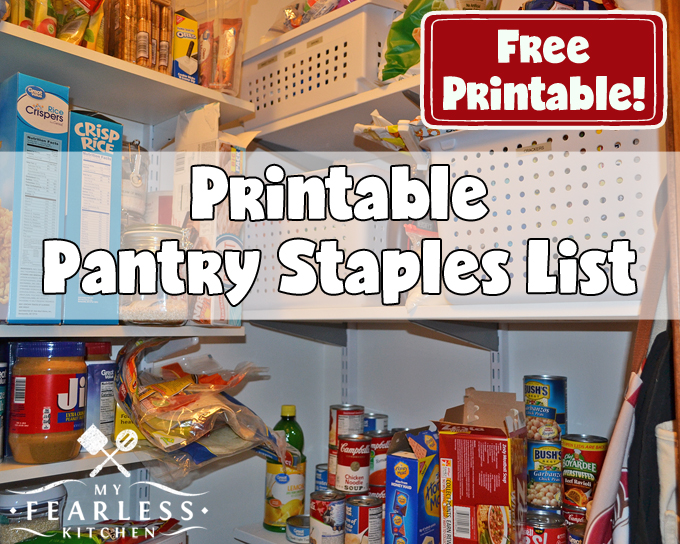 picture regarding Printable Pantry List called Printable Pantry Staples Checklist - My Fearless Kitchen area
