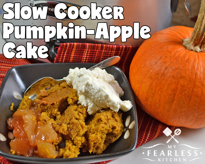 Slow Cooker Pumpkin-Apple Cake from My Fearless Kitchen. Have you tried baking dessert in your slow cooker yet? Make this Slow Cooker Pumpkin-Apple Cake your first slow-cooked dessert - it's so easy and so tasty!