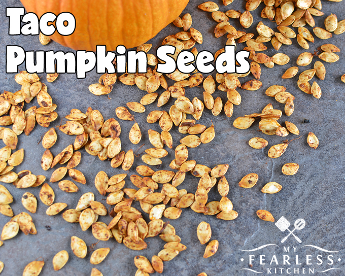Taco Pumpkin Seeds from My Fearless Kitchen. Roasted pumpkin seeds are a delicious fall treat. But have you tried them with different flavors? Check out these Taco Pumpkin Seeds - you'll never go back!