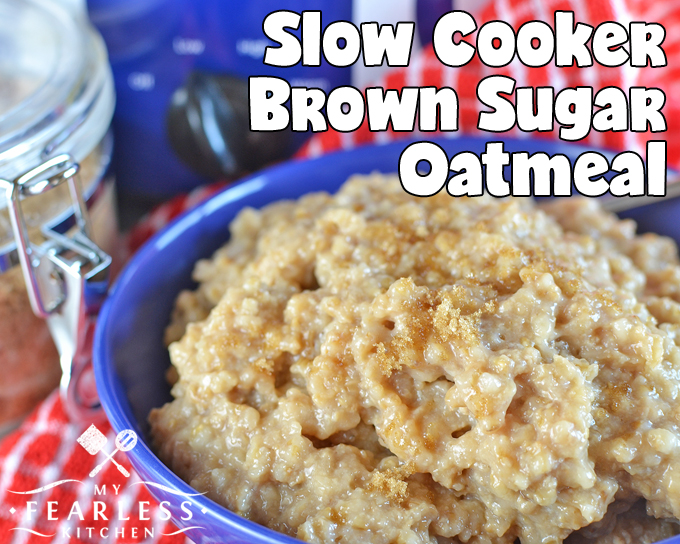 steel-cut oats cooked overnight with brown sugar in a blue bowl