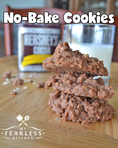 No-Bake Cookies from My Fearless Kitchen. These No-Bake Cookies have all the chocolaty peanut butter flavor you're looking for! (And they're made with oats, so they are a healthy whole grain!)