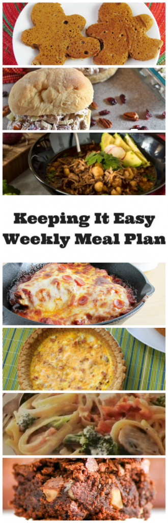 Easy Weekly Meal Plan #47 from My Fearless Kitchen. This week's meal plan includes Gingerbread Man Pancakes, Easy Turkey Salad, Posole Rojo (pork and hominy stew), Skillet Pizza Chicken, Easy Bacon Cheese Quiche, Parmesan Chicken Fettucini, and Chocolate Macadamia Nut Brownies. #mealplan #menuplan #easyrecipe