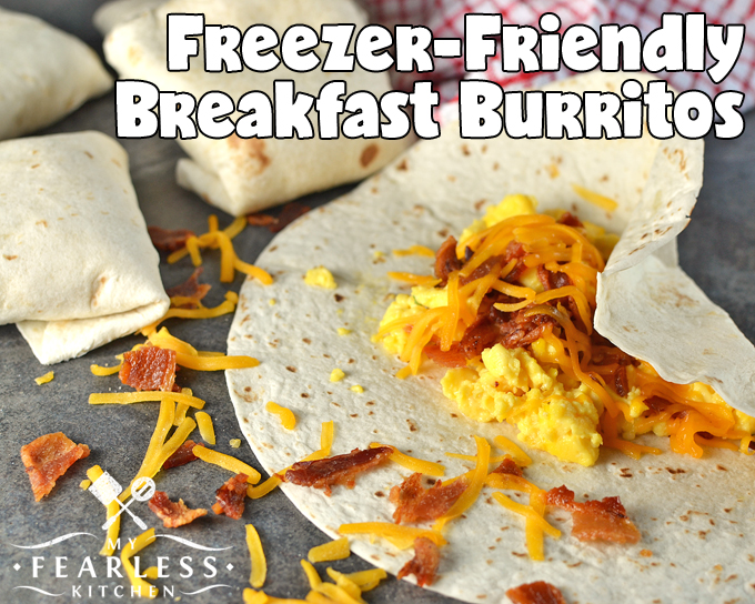 breakfast burritos with scrambled eggs, cheese, and bacon