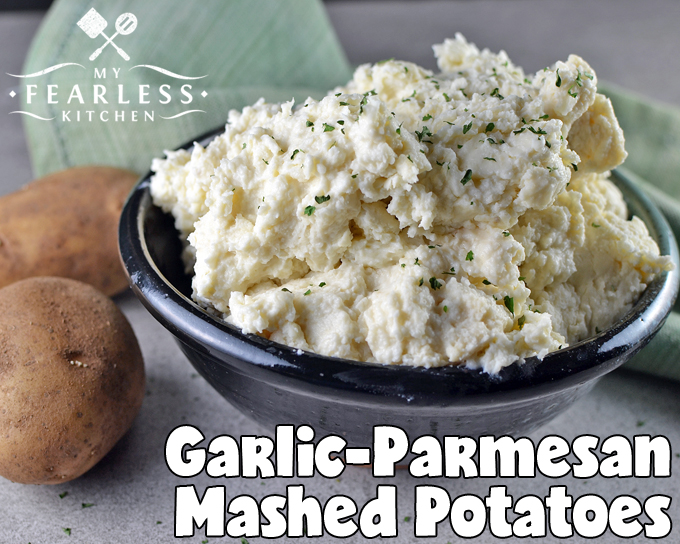 Garlic-Parmesan Mashed Potatoes from My Fearless Kitchen. Are you looking for a way to spice up plain, boring mashed potatoes? Add some fun to your next dinner with these delicious Garlic-Parmesan Mashed Potatoes!