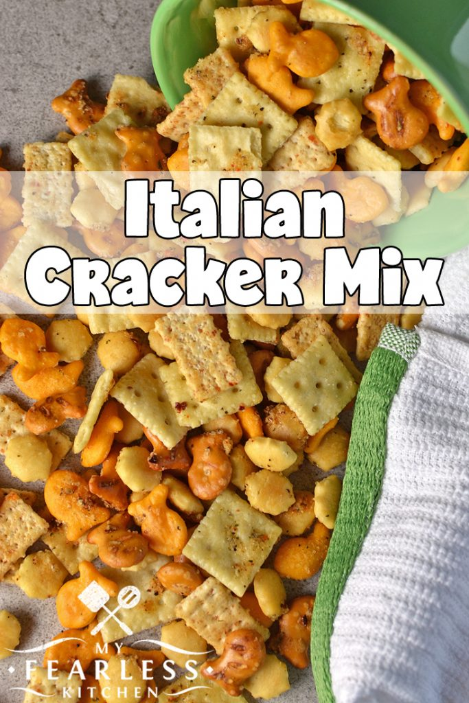 Italian Cracker Mix from My Fearless Kitchen. Are you looking for a new snack mix recipe? This Italian Cracker Mix is fast and easy to make, and has just the right amount of kick to keep you snacking! #snackmix #crackermix #snack