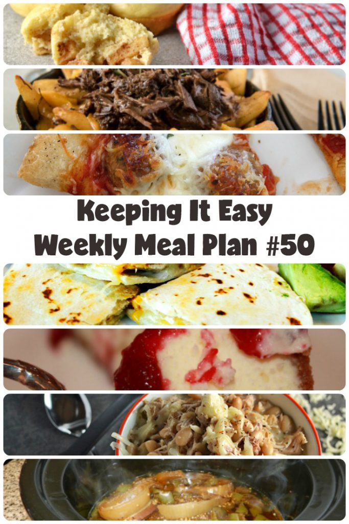Easy Weekly Meal Plan #50 from My Fearless Kitchen. This week's meal plan includes Apple Cinnamon Pancake Muffins, Balsamic Beef Roast, Chicken Green Chili Quesadilla, Slow Cooker Cheesy White Turkey Chili, Instant Pot Braised Short Rib Poutine, Cheesy Meatball Pizza, and Cranberry Cheesecake.