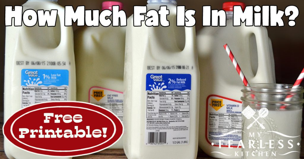 How Much Fat Is In Milk My Fearless Kitchen