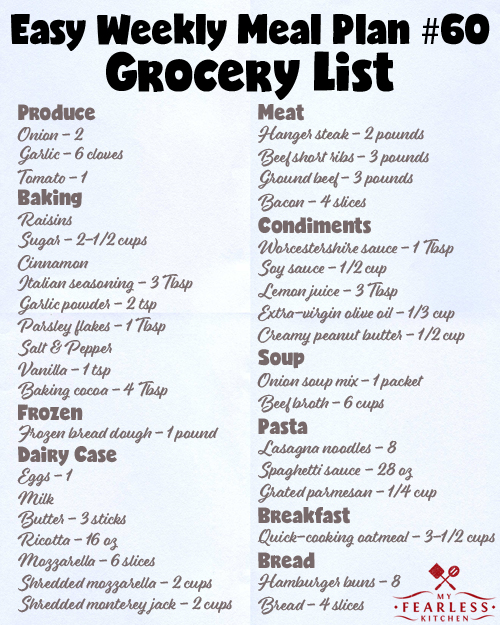 printable grocery list for meal plan