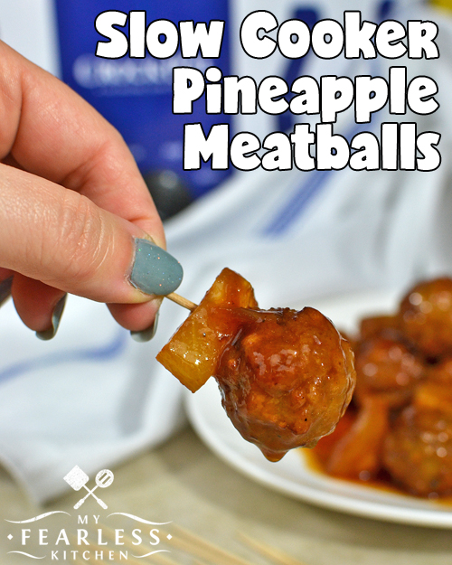 Slow Cooker Pineapple Meatballs from My Fearless Kitchen. A little sweet, a little fruity, a bit of a tang, and so saucy! The sauce for these Slow Cooker Pineapple Meatballs is super-simple to make, and it's so delicious! Whip this family-pleasing up in a hurry, then forget about it while it's cooking.