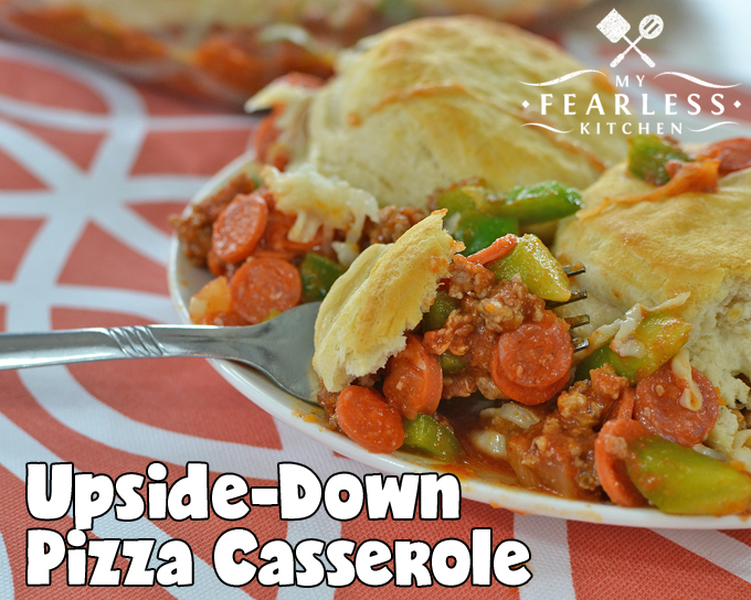 Upside-Down Pizza Casserole from My Fearless Kitchen. With this simple Upside-Down Pizza Casserole, every night can be pizza night! Mix it up with your favorite pizza toppings, and this simple recipe can be different every time you make it.