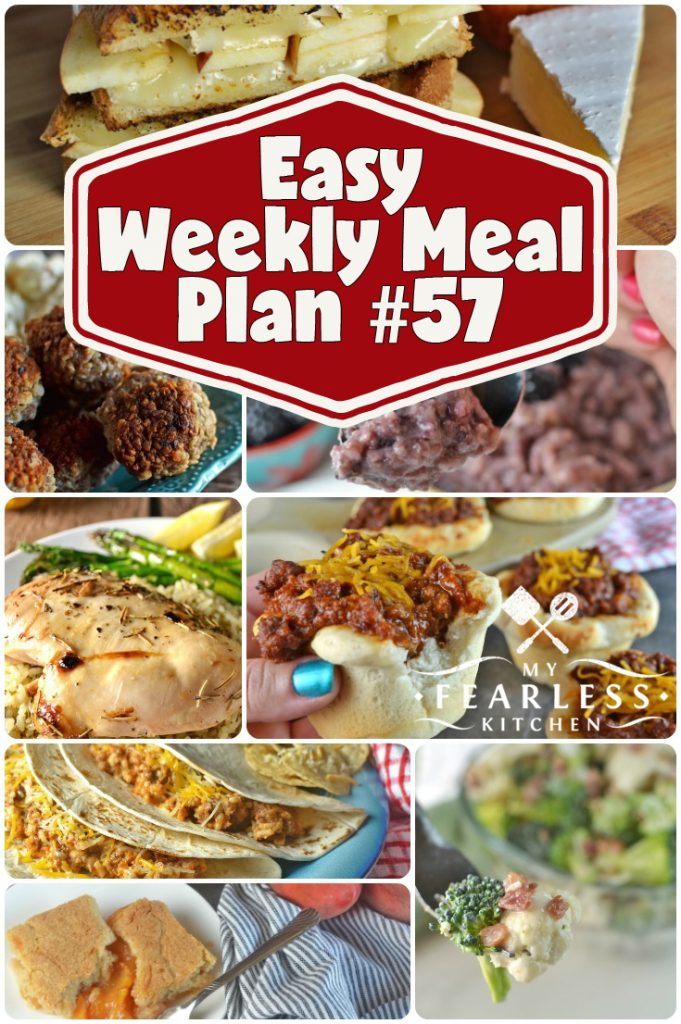 Easy Weekly Meal Plan #57 from My Fearless Kitchen. This week's meal plan includes Slow Cooker Blackberry Cobbler Oatmeal, Mini BBQ Cheeseburger Cups, Freezer-Friendly Taco Rice, Apple & Brie Grilled Cheese, Citrus-Herb Marinated Chicken, Handmade Freezer Meatballs, Broccoli Salad with Bacon, and Quick & Easy Peach Cobbler. #mealplan #weeklymealplan #menuplan