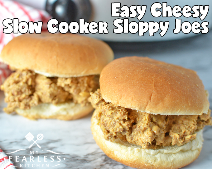 Easy Cheesy Slow Cooker Sloppy Joes from My Fearless Kitchen. Sloppy joes are easy to make, and everyone loves them. Give this recipe for Easy Cheesy Slow Cooker Sloppy Joes a try the next time you need a simple recipe for family night!