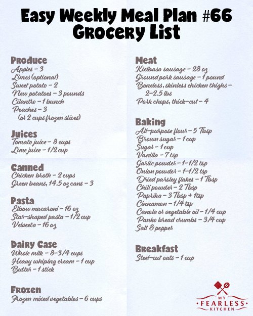 printable grocery list for Easy Weekly Meal Plan #66 from My Fearless Kitchen
