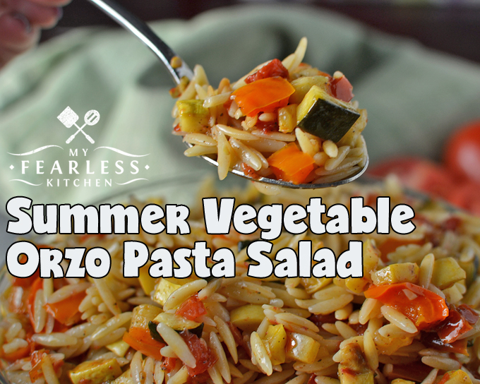 Summer Vegetable Orzo Pasta Salad from My Fearless Kitchen. Do you need a side dish for a summer party, or just something fun to make for a family dinner? You'll love all the flavors in this Summer Vegetable Orzo Pasta Salad!