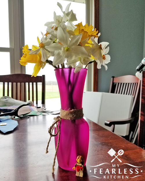 bouquet of spring flowers in a pink vase