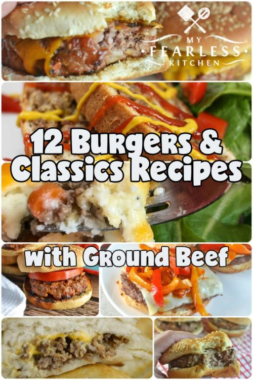 collage of burger recipes with ground beef