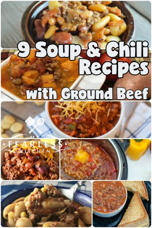 collage of soup and chili recipes with ground beef