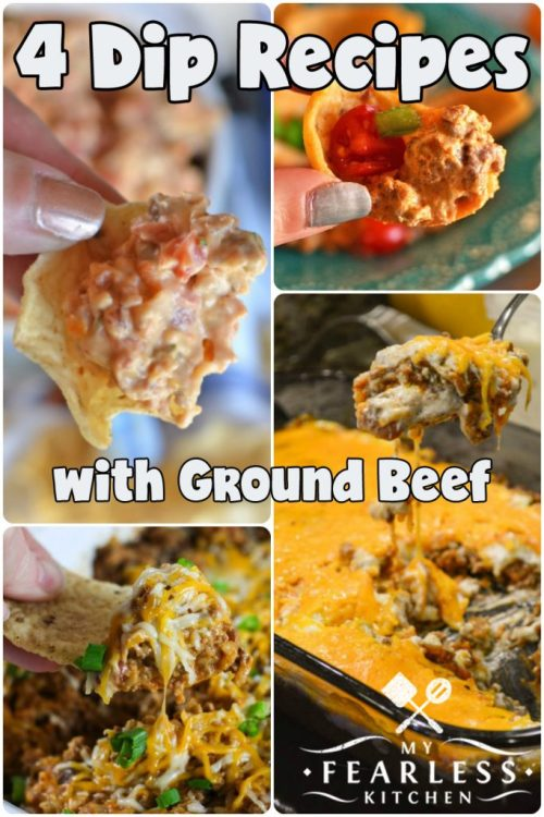 collage of dip recipes with ground beef