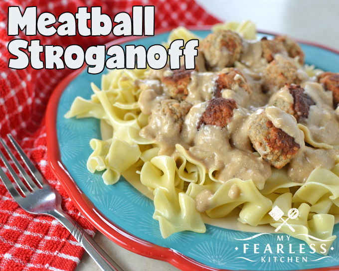 Meatball Stroganoff from My Fearless Kitchen. If you want some quick & easy comfort food, you'll love this Meatball Stroganoff! It's a simple weeknight supper, and it will taste like you slaved over the stove all day long. Hearty comfort food with next-to-no effort? Sounds great!