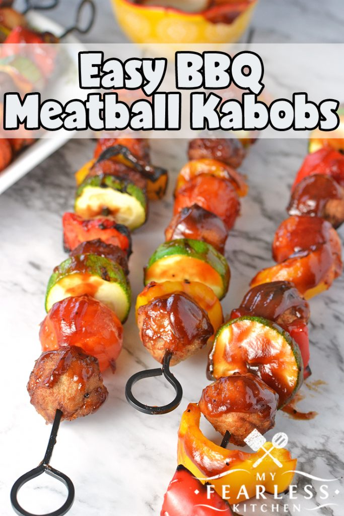 Easy BBQ Meatball Kabobs from My Fearless Kitchen. Heat up the grill for these Easy BBQ Meatball Kabobs. Use your favorite veggies and pre-cooked meatballs and dinner is ready in a snap on busy nights! #grill #easyrecipes #meatballs #kabobrecipes