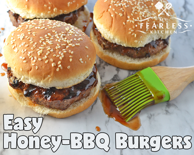 Easy Honey-BBQ Burgers from My Fearless Kitchen. These simple burgers will be the hit of your summer party or weeknight dinner! Whenever you're grilling them, everyone will love Easy Honey-BBQ Burgers!