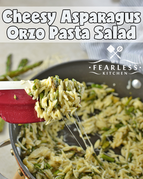 stringy, melty cheese in a pasta salad with asparagus