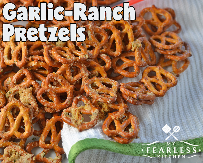 Garlic-Ranch Pretzels from My Fearless Kitchen. These Garlic-Ranch Pretzels are a perfect snack for an afternoon pick-me-up, a relaxing evening, or any party! They are simple to make and packed with flavor!
