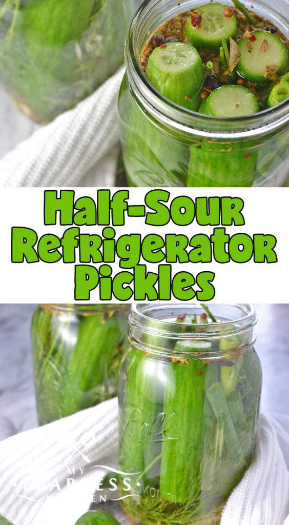 Half-Sour Refrigerator Pickles from My Fearless Kitchen. Somewhere between a fresh cucumber and a classic dill pickle, these Half-Sour Refrigerator Pickles are perfect with a burger, a sandwich, or for a quick snack! #cucumbers #pickles #easyrecipe #refrigeratorpickles